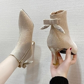 馬丁靴春秋尖頭鞋子女單靴2020新款網紅靴子冬鉆百搭高跟細跟短靴【快速出貨】