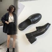 新款春秋季單鞋女一腳蹬小皮鞋ins樂福鞋增高黑色英倫中跟潮 蜜拉貝爾