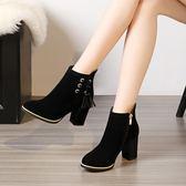 流蘇靴短靴女粗跟高跟鞋女秋冬新款學生馬丁靴磨砂韓版百搭短筒靴 韓慕精品
