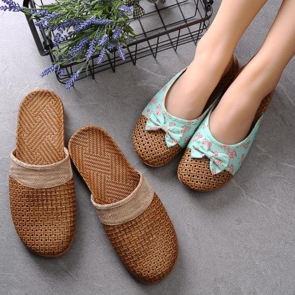夏季亞草編織涼拖鞋女士日韓家居室內防滑厚底地板亞麻拖鞋