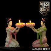 蓮花燈 家居室內供佛堂飛天女蓮花燈仙女樹脂酥油燈座蠟燭臺擺件 莫妮卡小屋