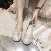 娃娃鞋 單鞋女2021春秋季新款百搭仙女風淺口蝴蝶結平底豆豆鞋軟底奶奶鞋