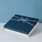 禮盒 禮物盒空盒精美生日禮盒簡約藍色包裝盒裝圍巾衣服大號禮品盒定制【快速出貨八折下殺】