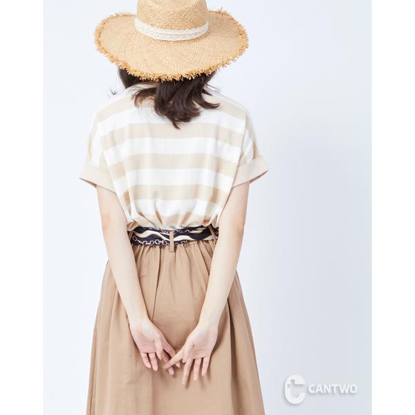 CANTWO薄針織撞色拼接條紋上衣-二色~春夏新品單一特價