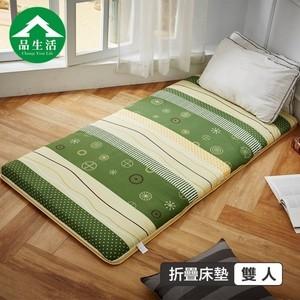 【品生活】冬夏兩用青白鋪棉三折床墊5x6尺雙人(綠色草地)5X6