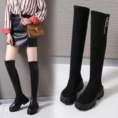 小個子長靴女不過膝薄2019新款秋季鞋子高筒靴胖mm粗腿秋款靴子冬