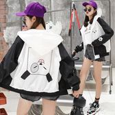 棒球服春秋新款原宿寬鬆bf拼色可愛外套女韓版學生百搭連帽棒球服夾克潮  朵拉朵衣櫥