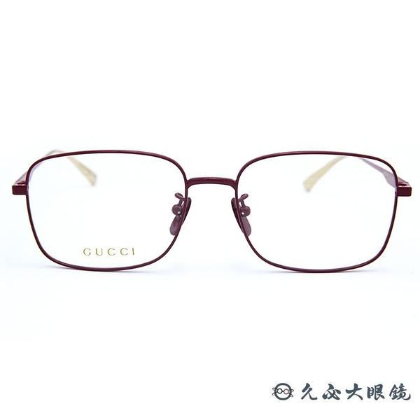 GUCCI 眼鏡 GG0338OA 004 (桃紅-金) 復古金屬 全框 近視眼鏡 久必大眼鏡