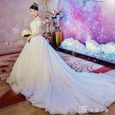 婚紗禮服新娘結婚長拖尾森系公主夢幻簡約一字肩齊地女  娜娜小屋