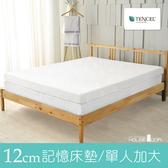 House Door 涼感天絲布套 波浪型12cm厚竹炭記憶床墊(單大3.5尺)