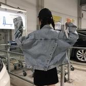 【YPRA】秋季新款原宿風短版上衣寬鬆牛仔外套女