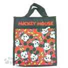〔小禮堂〕迪士尼 米奇 帆布直式手提袋《黑.Q版.張開手.滿版》 4713549-00171