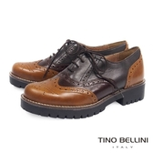 Tino Bellini西班牙進口秋調3色拼縫牛津鞋 _ 棕  A69014  歐洲進口款
