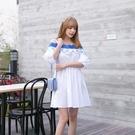 洋裝-露肩蕾絲繡花一字領收腰女連身裙73nj96【巴黎精品】