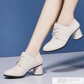 單鞋女2020秋款百搭粗跟高跟鞋深口中跟英倫風小皮鞋女鞋  母親節特惠