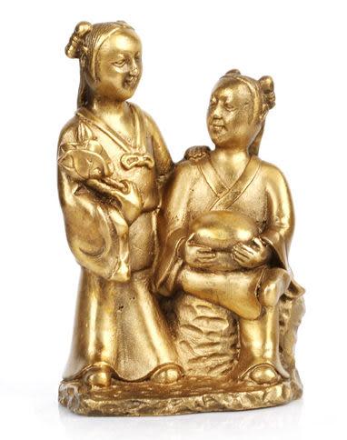純銅像和合二仙擺件家居飾品結婚禮物工藝品擺設