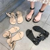 2021新款網紅女涼鞋ins復古羅馬涼靴平底套趾金屬鏈條綁帶鞋子女 【端午節特惠】
