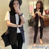 春裝新款韓版修身顯瘦黑色中長款無袖西裝馬甲女背心外套坎肩 年前鉅惠