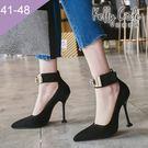 大尺碼女鞋-凱莉密碼-潮流水鑽金屬扣飾瑪...