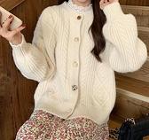 毛衣外套 毛衣開衫外套女新款春寬鬆蕾絲溫柔羊絨日系針織慵懶風外穿【快速出貨八折鉅惠】