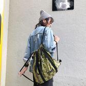 時尚包 自制蛇紋印花帆布抽繩束口雙肩包  ins超火可單肩大容量健身背包