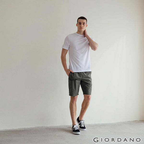 【GIORDANO】 男裝SMART素色短袖T恤 - 01 標誌白