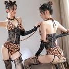 豹紋彈貓女郎衣服cos制服尾巴可愛深V吊襪帶連體情趣服 『洛小仙女鞋』