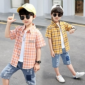 男童襯衫-男童短袖格子襯衫夏裝中大童夏天新款襯衣兒童中童洋氣休閒上衣潮