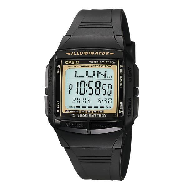 CASIO卡西歐熱銷 DB-36-9A 電子錶 方形 鬧鈴 計時碼錶 多功能 黑色 DATABANK 系列錶款 DB-36-9AVDF