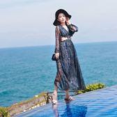 洋裝(兩件套)-長袖波希米亞風印花雪紡露腰女裙裝73pu59【巴黎精品】