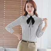 YS-1737-PF襯衫領顯瘦條紋OL長袖襯衫上衣~小三衣藏