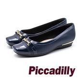 【南紡購物中心】Piccadilly 龐克風限量方頭拼接娃娃女鞋- 藍 (另有黑)