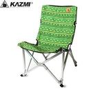 丹大戶外【KAZMI】民族風樂活椅 綠 人體工學/耐重80kg/附收納袋/涼爽折合椅/樹下乘涼椅 K3T3C024GN