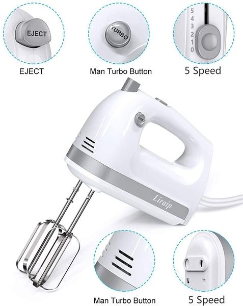 [2美國直購] Liraip 手動攪拌機 Electric Hand Mixer, 5 Speed 400W Turbo with 5 Stainless Steel Accessories for Easy