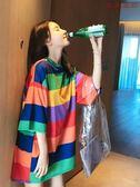 彩虹條紋T恤女短袖中長款T恤裙