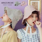 漁夫帽 Space Picnic|現+預.小格紋緞帶漁夫帽【C18062007】