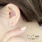 Impish.925純銀簡約纏繞鑽雙圈穿針式耳環【s318】911 SHOP