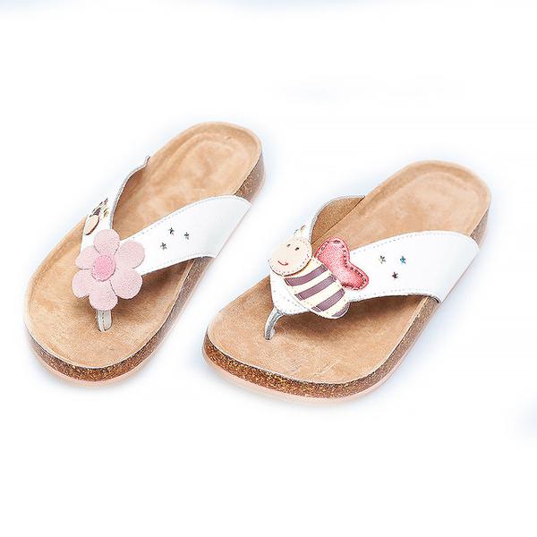 【Jingle】小蜜蜂採花蜜夾腳軟木涼鞋(清新白兒童款)