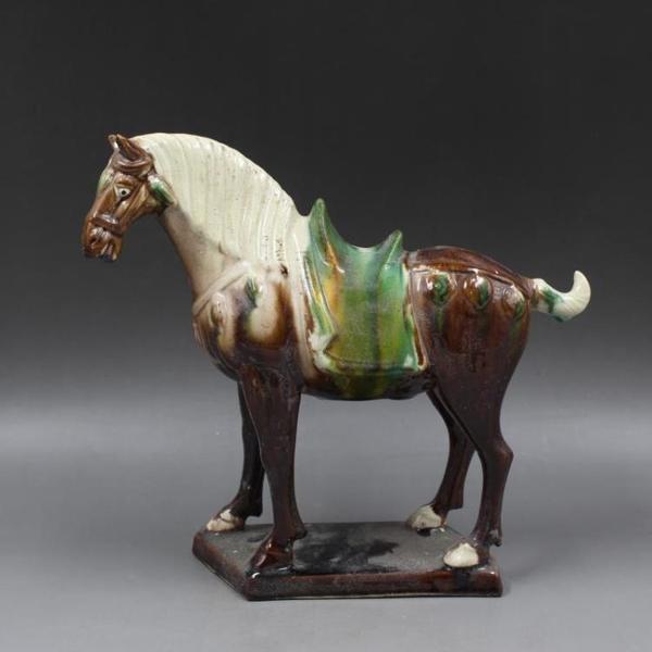 唐三彩雕刻紫戰馬擺件仿古出土瓷器舊貨古董古玩家居收藏老貨擺件1入