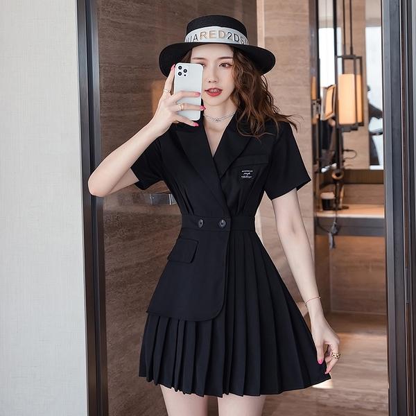 VK旗艦店 韓國風優雅OL氣質西服百褶不對稱短袖洋裝
