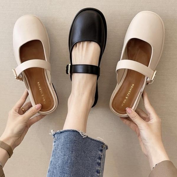 穆勒鞋.復古瑪莉珍方口金屬扣圓頭低跟拖鞋.白鳥麗子