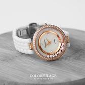 Valentino范倫鐵諾 珍珠貝滾動鋯石玫瑰金奢華精密陶瓷手錶腕錶 柒彩年代【NE1368】原廠