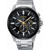 【台南 時代鐘錶 SEIKO】精工 Criteria 太陽能三眼計時腕錶 SSC679P1@V175-0ER0D 黑/銀 43mm