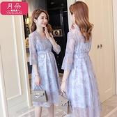 孕婦洋裝 孕婦夏裝洋裝時尚款2020新款潮媽蕾絲孕婦裙顯瘦中長款仙女裙子