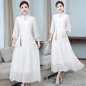 洋装 中大尺碼 2021早春新款復古文藝奧黛改良旗袍連身裙文藝素色仙氣茶服