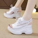 楔型鞋 坡跟涼鞋2021夏季新款網紅厚底ins潮百搭增高魚嘴休閒韓版羅馬鞋
