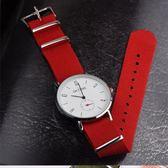 韓版時尚尼龍帆布帶男簡約潮流休閒情侶防水石英手錶