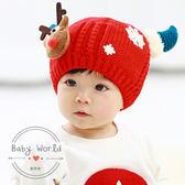 帽子 牛角 雪花 麋鹿 寶寶 加絨 護耳帽 BW