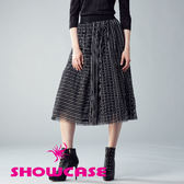 【SHOWCASE】雙向黑白條紋拼接微澎個性網紗裙(黑)