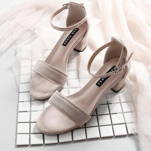 一字帶涼鞋女新款夏季仙女風百搭粗跟中跟晚晚配裙子的高跟鞋
